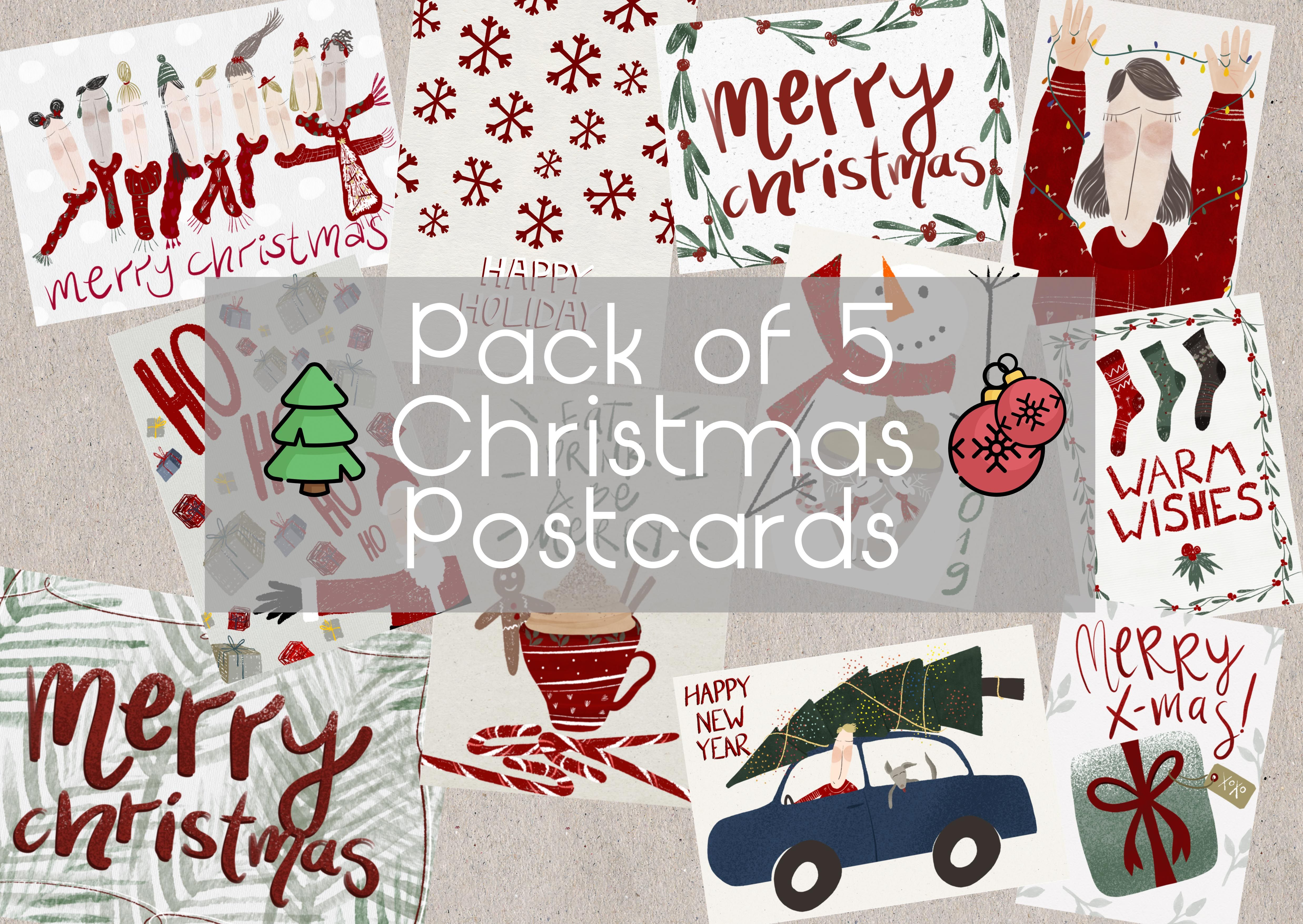 Christmas New Year Postcards 5 Pack Recycledchristmas Etsy Christmas Postcard New Year Postcard Merry Happy