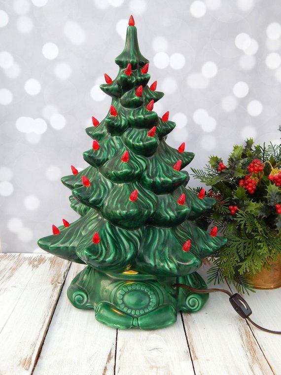 Vintage Ceramic Cristmas Tree Lamp Atlantic Mold Leviton Ceramic Tree 17 Green Red Lights Traditi Tree Lamp Vintage Christmas Decorations