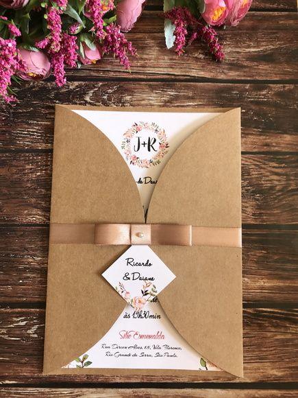Convite de Casamento Rústico Floral Marsala (bordo) R01