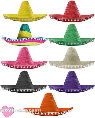 8150d677e37 Mexican sombrero hat pom poms wild western bandit fancy dress costume  accessory
