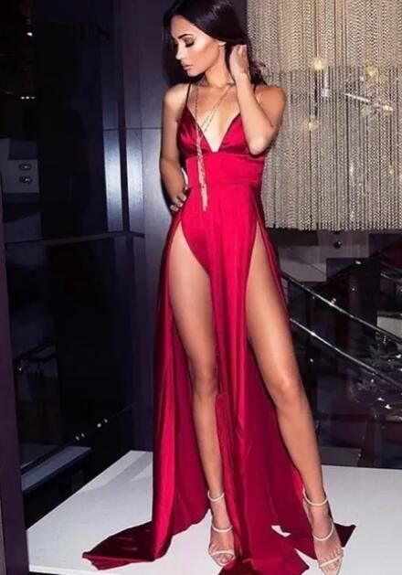 Sexy Prom Dress Double Slits Party Dress Evening Dress Prom