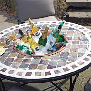 Tuscan Mosaic Tile Outdoor Patio Table   Better With Beer