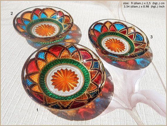 RichanaDragon ||| Stained GLASS PLATE. Wedding ring dish, jewelry tray. Hand painted vitrage saucers, bowl candle holders for a tea light. Home decor. Summer outdoor dinnerware for candies, ice-cream, jelly, dessert. ||| ○ SIZE: 9 (diam.) x 2,5 (hgt.) cm / 3.54 (diam.) x 0.98 (hgt.) inch ○ NET WEIGHT: 100 g / 0.22 lb