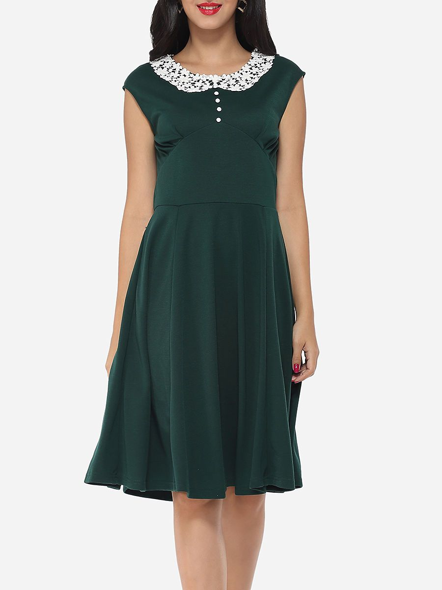 Plain Embossed Design Elegant Round Neck Skater-dress