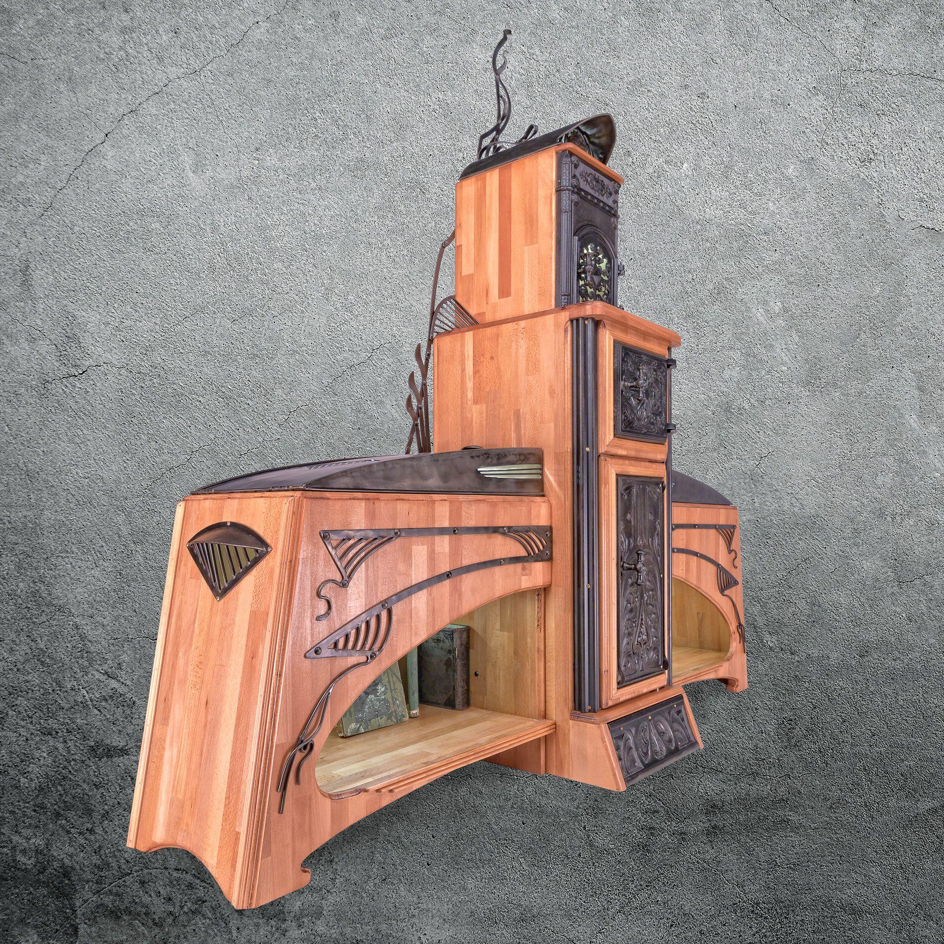 Schrank Aus Massivem Buchenholz Mit Massiven Guss Und Schmiedeeisen Und Led Beleuchtung Mit Bildern Design Buchenholz Jugendstil
