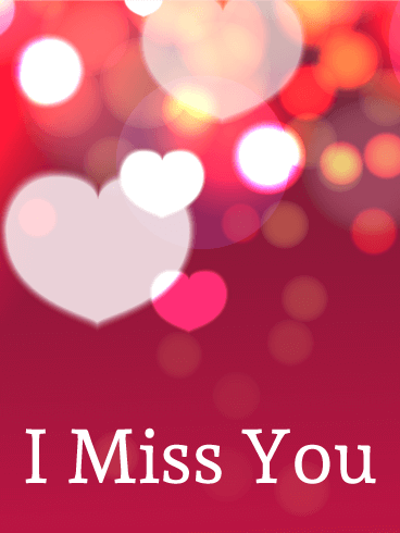 """Shining Heart Miss You Card: Is your partner away from you today? Let them know how much you miss them with this beautiful Miss You card. The background is dark pink on the bottom and filled with circles of red, yellow, orange, and white at the top. Shining pink and white hearts are mixed with the circles and """"I miss you"""" is written in white at the bottom. Send this card to the person you love and miss today!"""