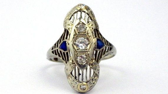 Vintage Art Deco Engagement Ring, White Gold & Diamond Engagement Ring, Style 0252a