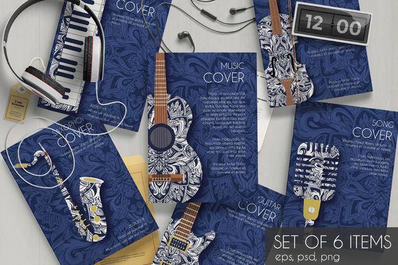 Music instruments set cards - vector Music instruments, Brochure - music brochure