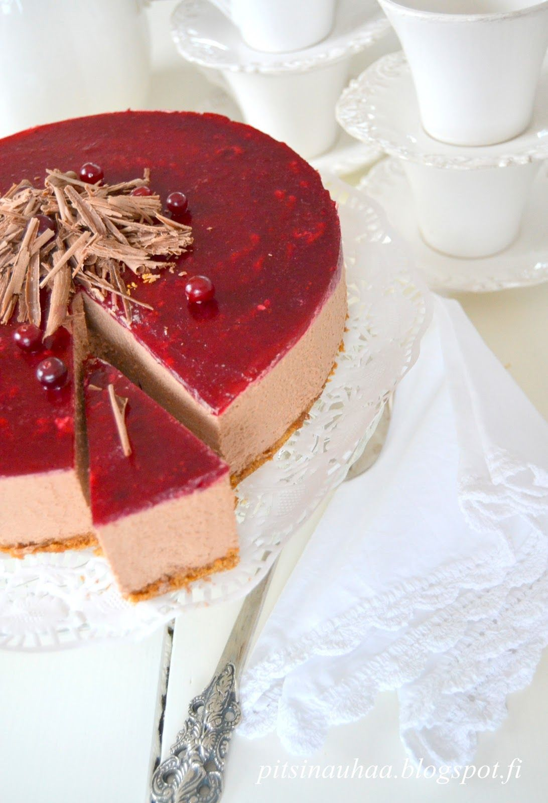 milk chocolate and cranberries -cake.