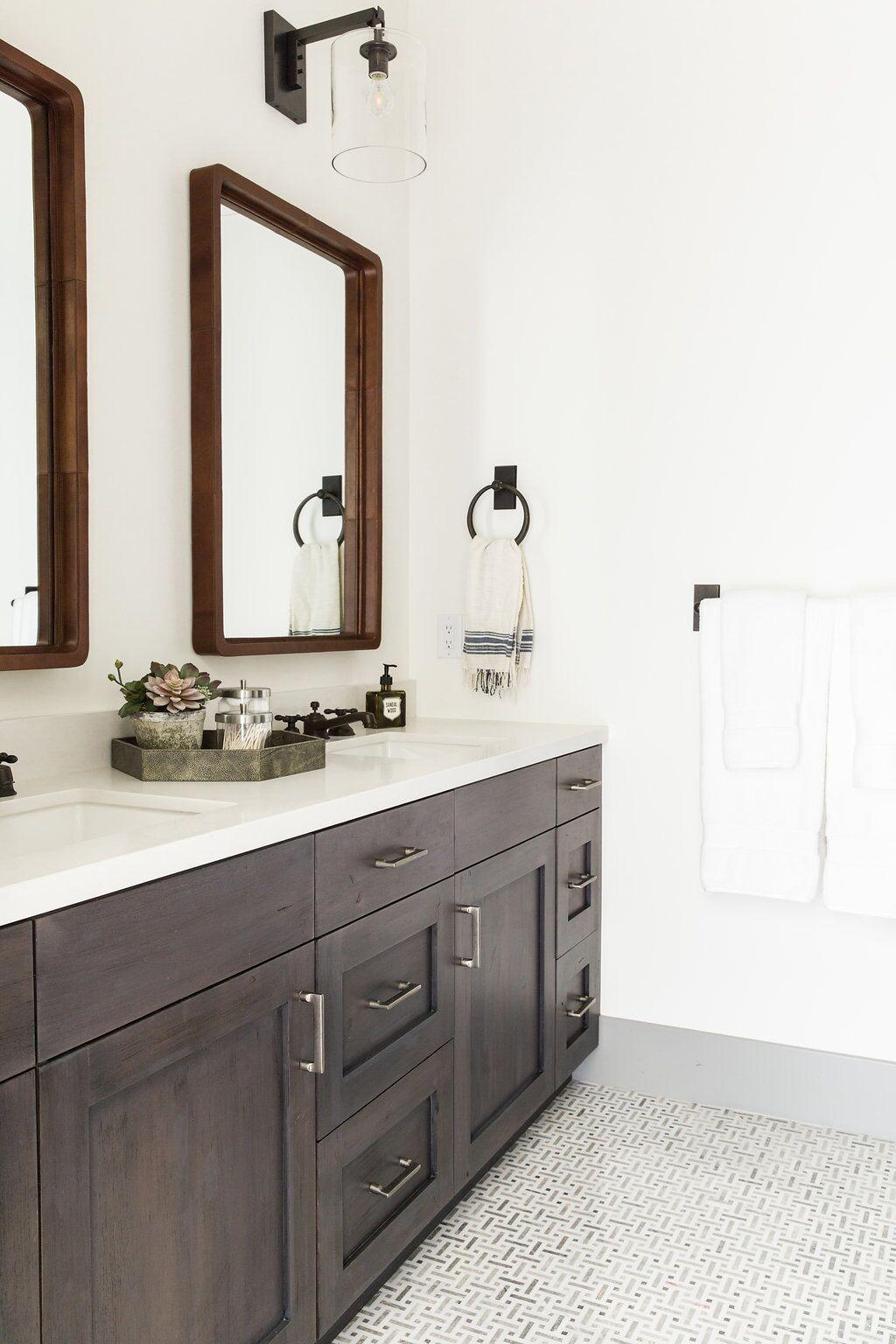 2017 bathroom design, wood vanity, wood mirrors, black hardware ...