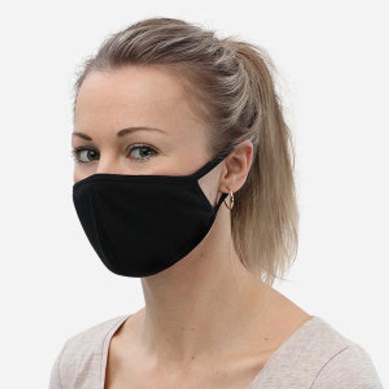 Fashionable face mask triple black face mask 3pack etsy
