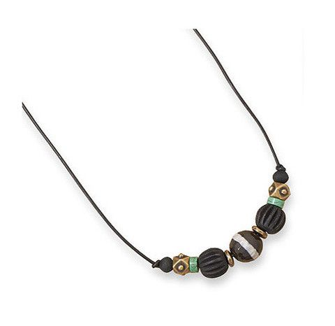 """20"""" Men's Brass Necklace with Agate and Wood – Tribal Native"""