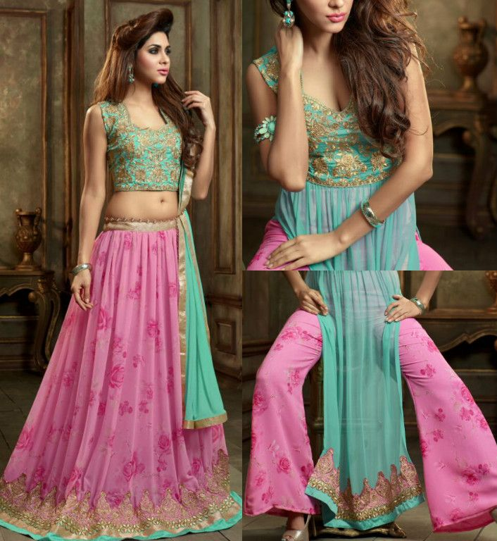 Gorgeous Color Combination Aqua And Pink Suit Call Whats 919600639563 For Booking
