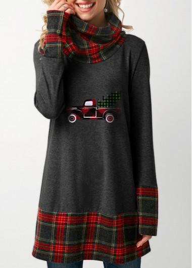 Women Plaid Trim Cowl Neck T Shirt-Dark Grey,Size XXL Patchwork Plaid Cowl Neck Dark Grey T Shirt