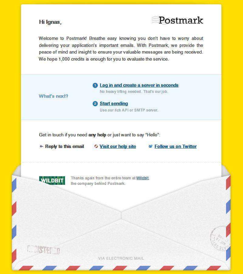 PostmarkApp #WelcomeEmail