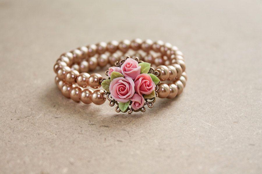 beige polymer clay rose bracelet flowers bracelet vintage