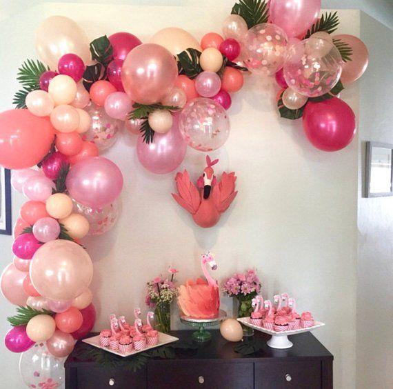 Balloon Garland DIY Balloon Garland Kit Flamingo Party Tropical Party Bachelorette Hot Pink Rose Gold Coral Nude Pink Balloon Garland Summer