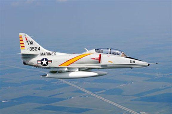 Douglas TA-4J Skyhawk. Twin seat trainer version of the Navy/USMC strike a/c.