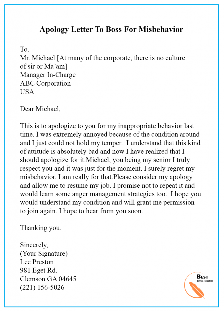 Apology Letter Template to Boss/ Manager Sample