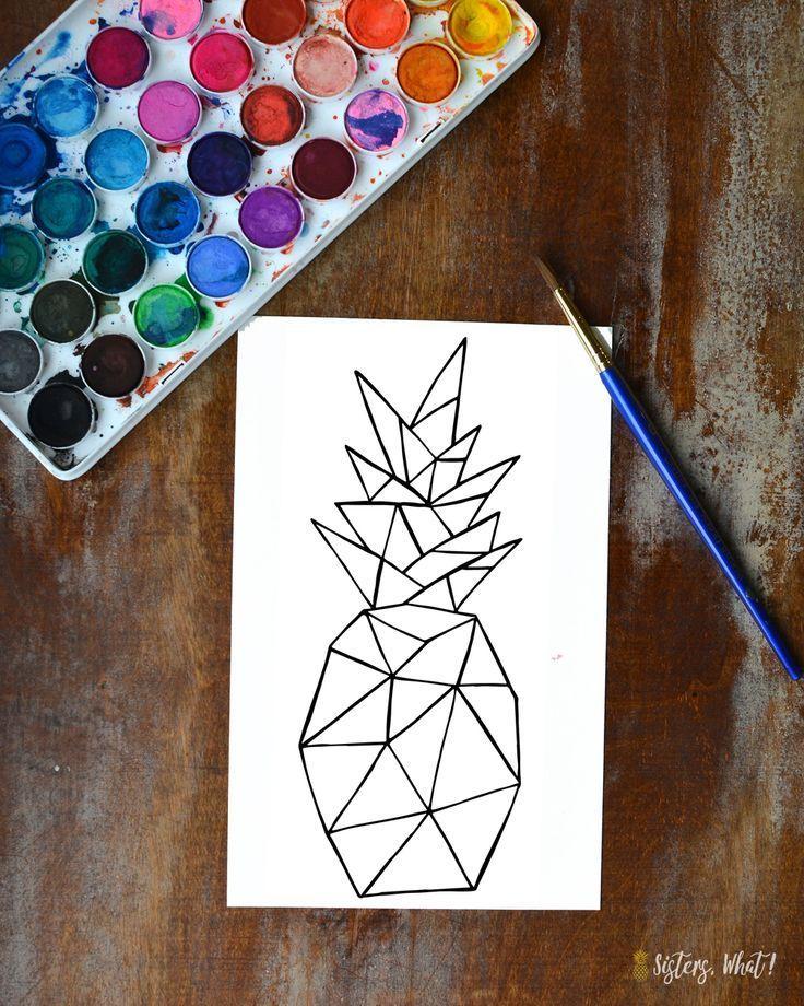 Love of Watercoloring and Free Geometric Pineapple Print Downloadsdownloads