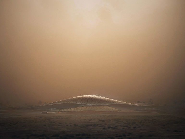 Zaha Hadid's sustainable Bee'ah HQ rises out of the desert like a sand dune By Adam Williams 12/19/14 Hadid's familiar flowing style looks well suited to the surroundiing landscape