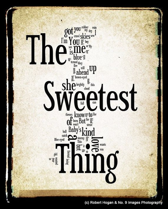 The Sweetest Thing U2 Word Art 8x10 Word Cloud Art by no9images,