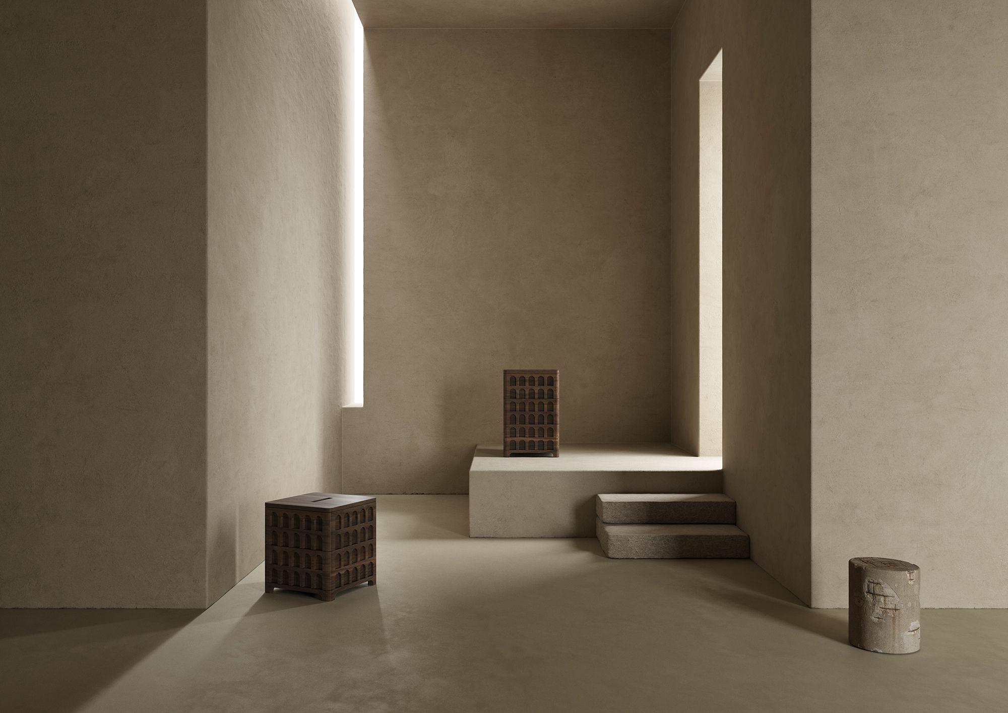 #notooSTUDIO For Nicolò Spinelli • #nottoolate #design #nicolospinelli #architecturallusions • Palassett by @nicolospinelli • #work #light #interiordesign #art #architecture #paciarott #furniture #colors #3d #3drender #coronarender #conceptdesign #styling #setdesign #artdirection #cinema4d #minimalism #materials #shapes #column #sphere #monumental