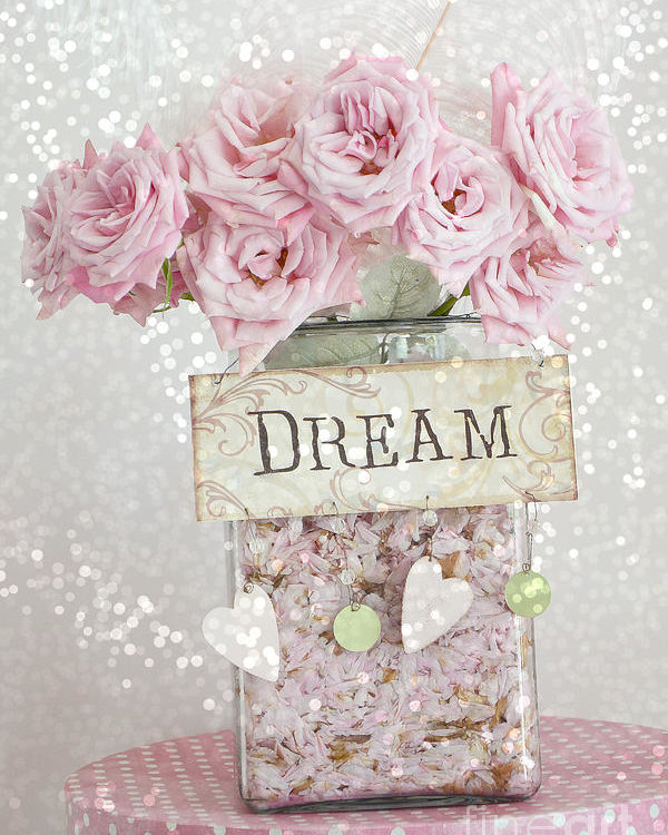 Photo of Shabby Chic Dreamy Pink Roses – Cottage Chic Pink Romantic Roses In Jar  – Dream Roses Poster by Kathy Fornal