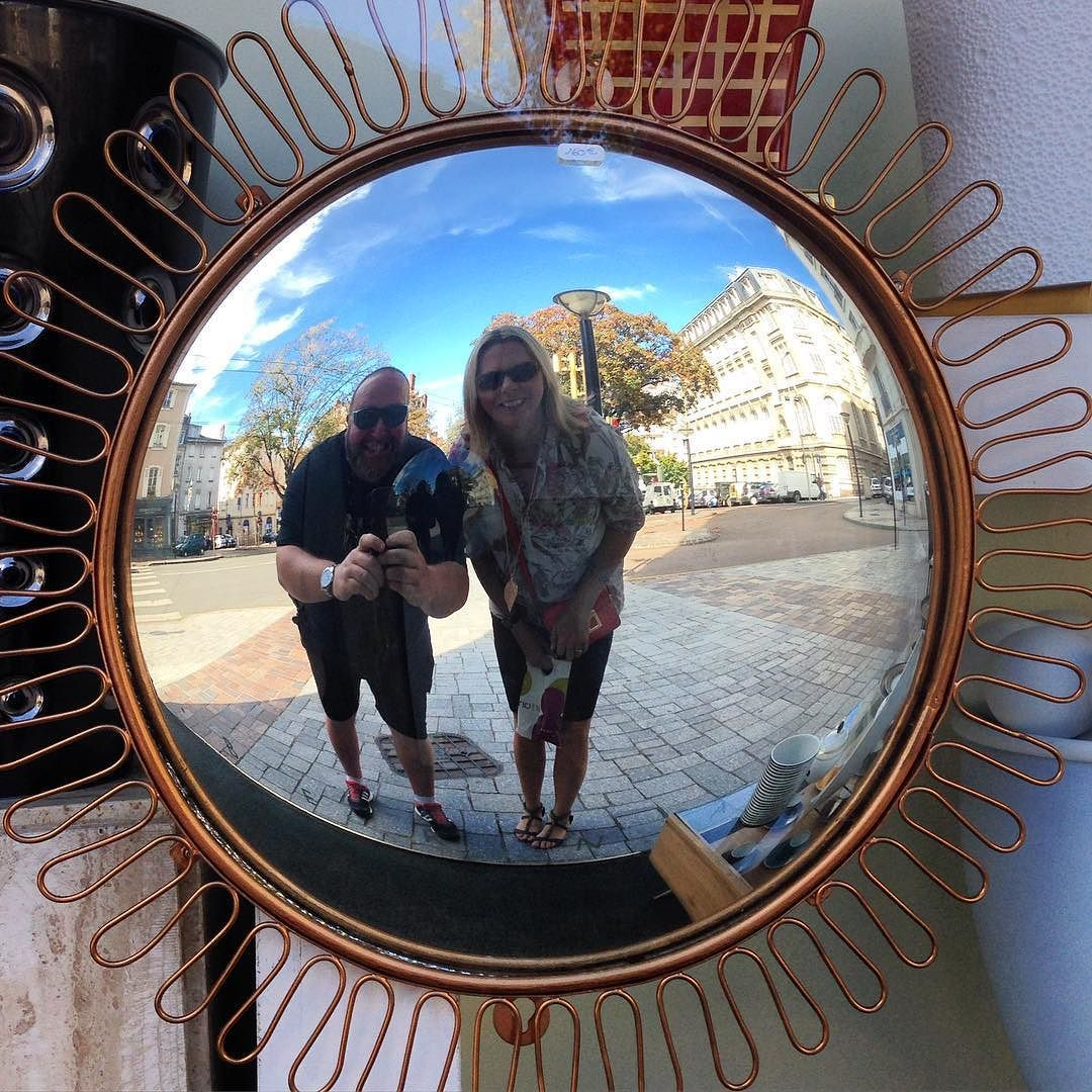 One of those rare #selfie moments! Looking into a #convex #mirror in a #Limoges #antique shop window! #reflection #fun #IgersLimoges #travel #tourism #tourist