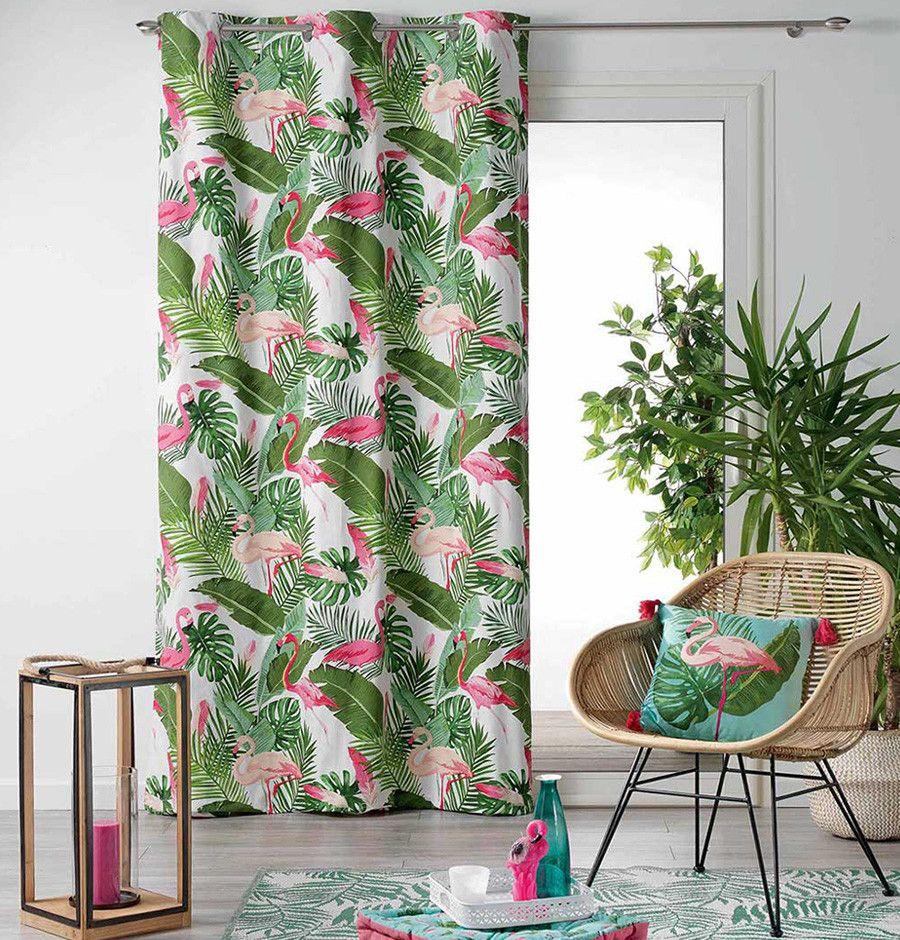 rideau imprimé flamants roses  rideaux oeillets rideaux