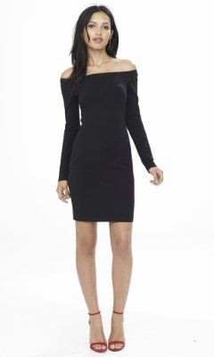 6942866aa black fitted off the shoulder dress from EXPRESS