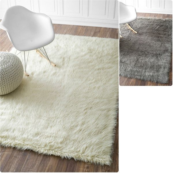 Nuloom Faux Flokati Sheepskin Solid Soft And Plush Cloud Rug 134 Liked On Polyvore Featuring Home Rugs White Area Patterned
