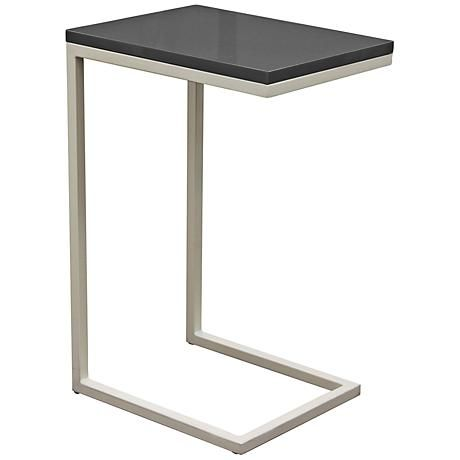 Edge High Gloss Gray Top and Metal Accent Table home decor