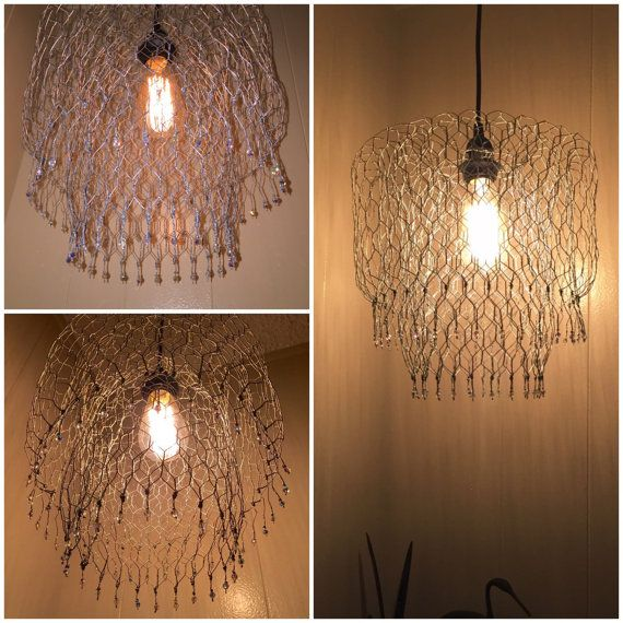 Pendant Hanging Lamp Chandelier Handmade W Chicken Wire And Etsy Hanging Pendant Lamp Wire Chandelier Chandelier