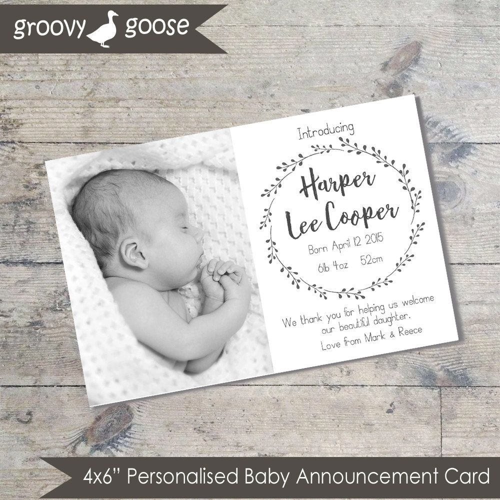 Simple Wreath Monochrome BABY ANNOUNCEMENT Card DIY Printable Baby – Baby Announcement Cards Etsy