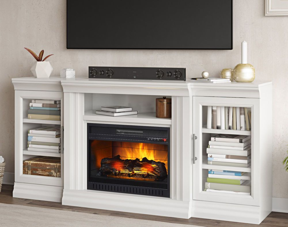 White Fireplace Tv Stand Large 75 In Television Wood Entertainment