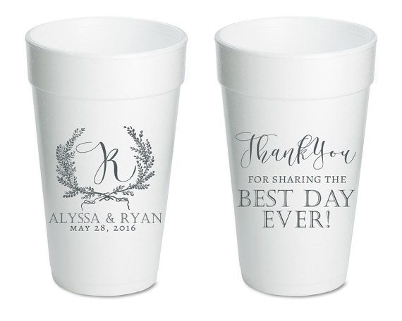 0e9abe0b3cd42 Anniversary Party Cups Rehearsal Dinner Cups Foam Wedding Cups ...