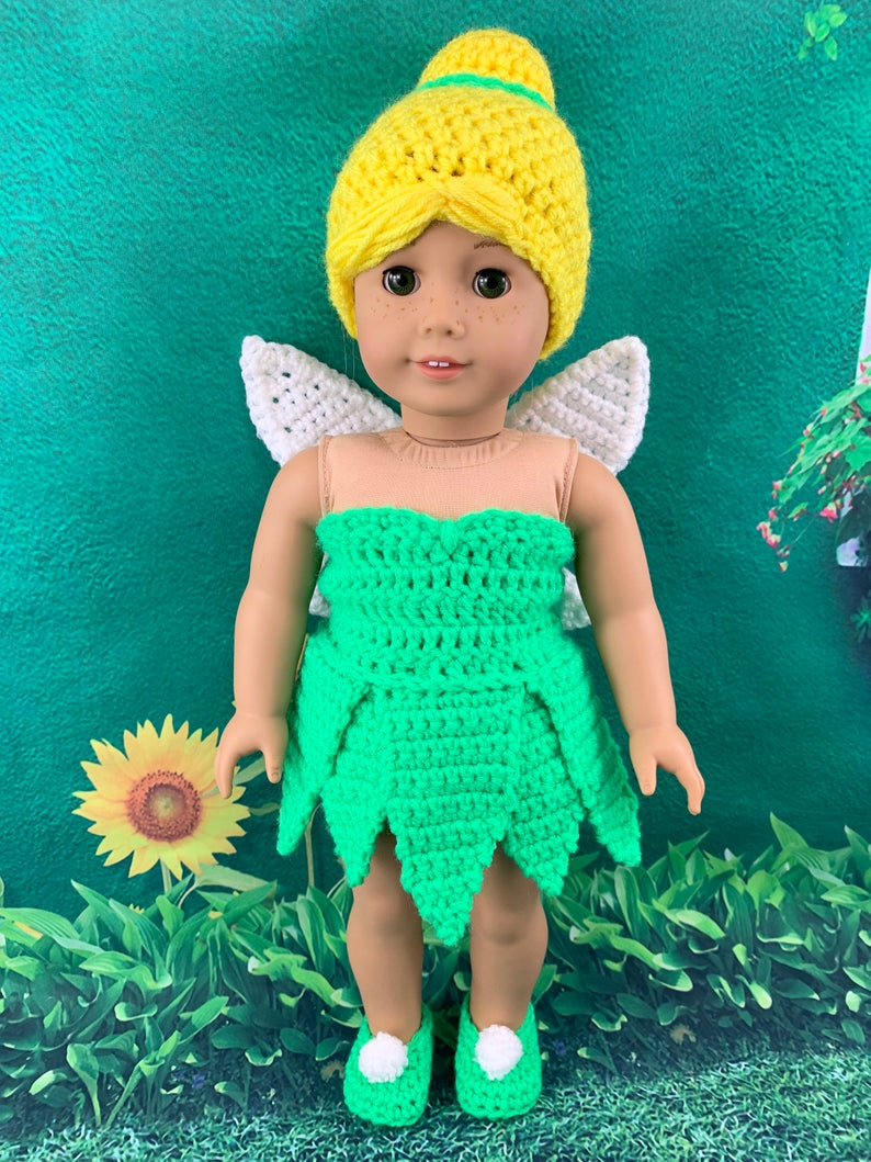 18 Doll Fairy Crochet PDF pattern, Doll clothes pattern, green fairy pattern, yellow doll wig pattern #dollcostume
