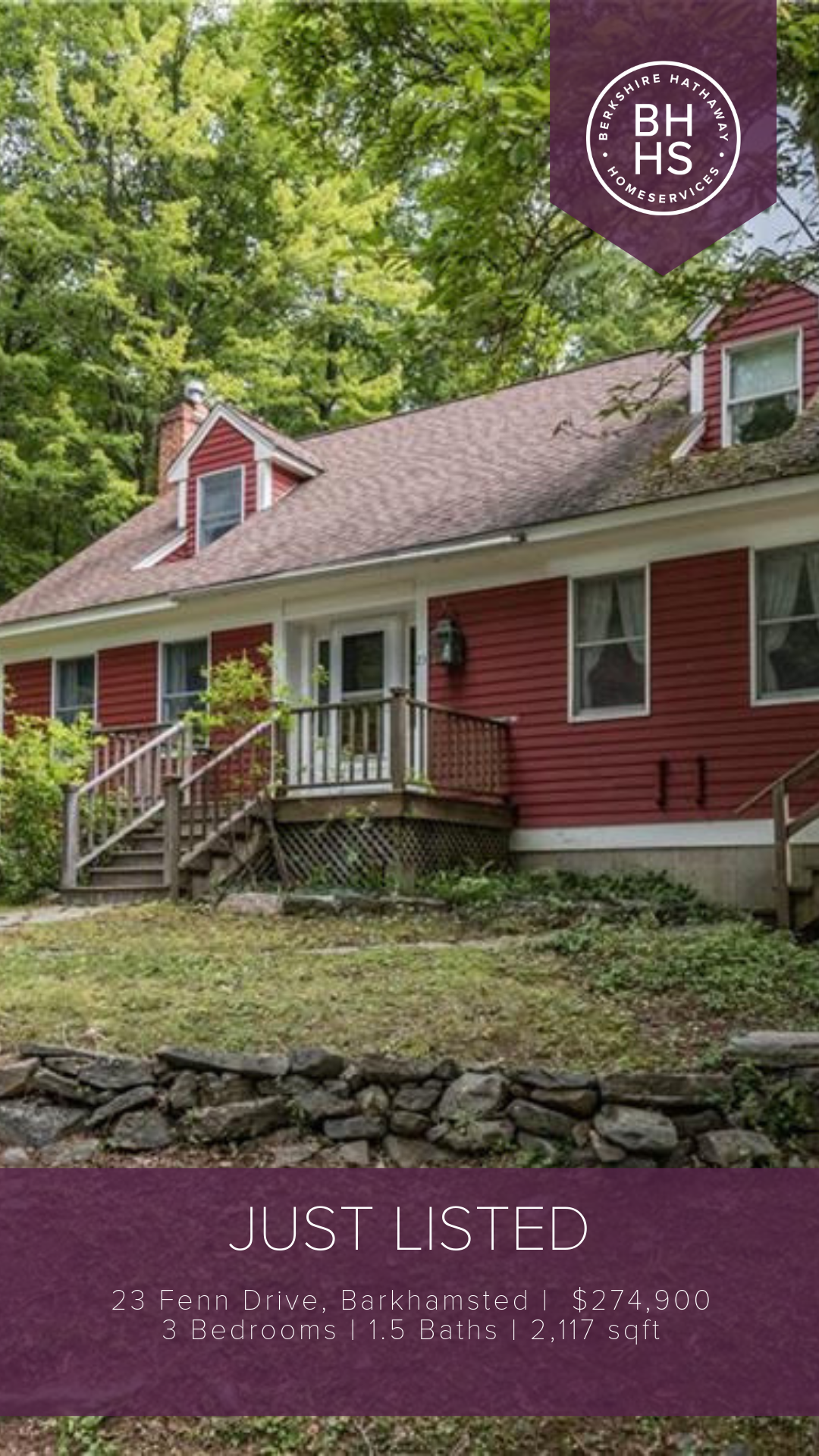 Just Sold 23 Fenn Drive Barkhamsted Ct 06063 Berkshire Hathaway Homeservices New England Properties House Styles Property Berkshire