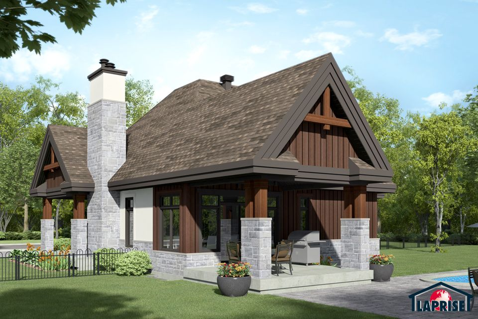 Designer zen contemporain bordure de lac chalet for Plan maison bungalow avec garage