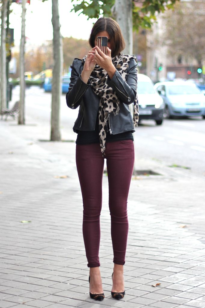 Port Pants With Leather Jacket In 2019  Jeggings Outfit