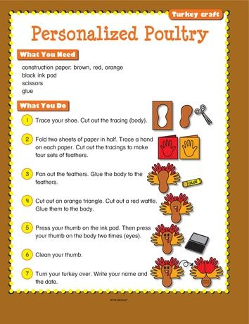 Slip this FREE step-by-step activity into a plastic page protector and you have an art or free-time center! #themailbox #turkeys #Thanksgiving