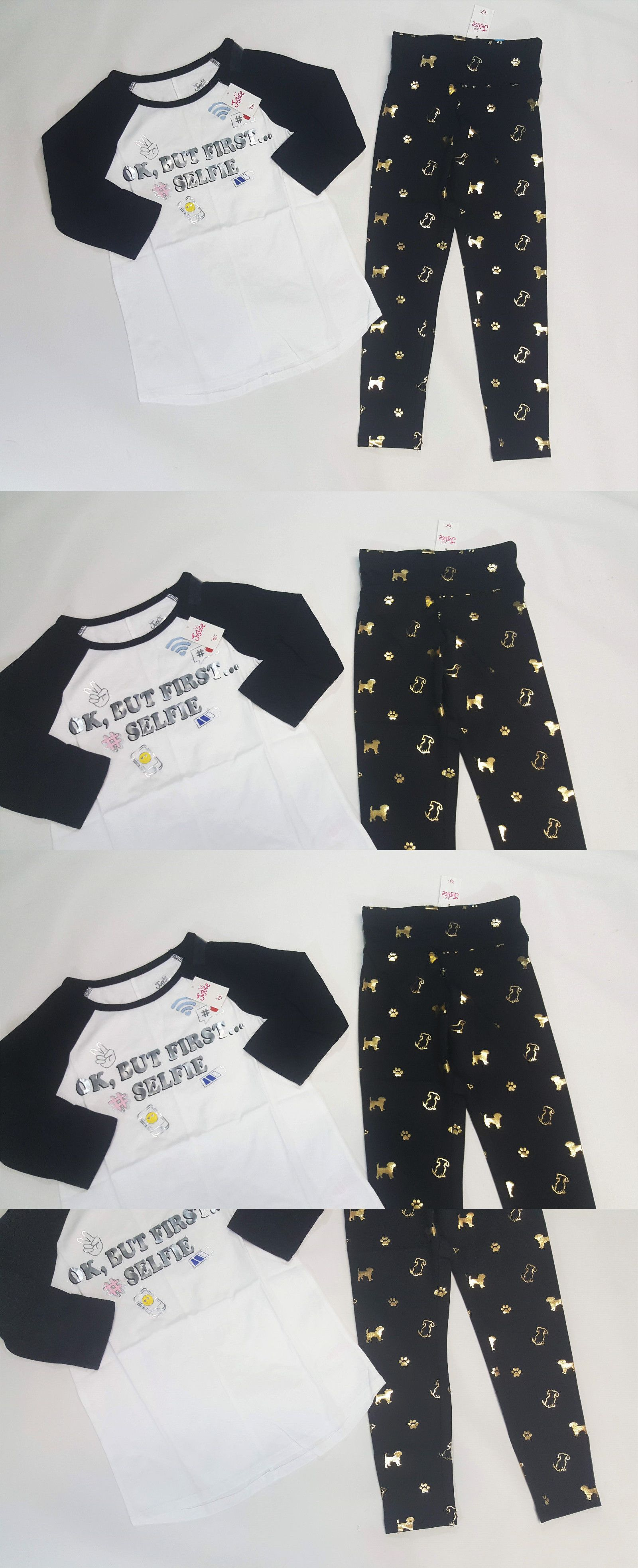 d4d605ea8e7b9 Outfits and Sets 156801: Nwt Justice Kids Girls Size 7 8 Or 10 Black White  Emoji Shirt Top And Dog Leggings -> BUY IT NOW ONLY: $15.29 on #eBay  #outfits ...