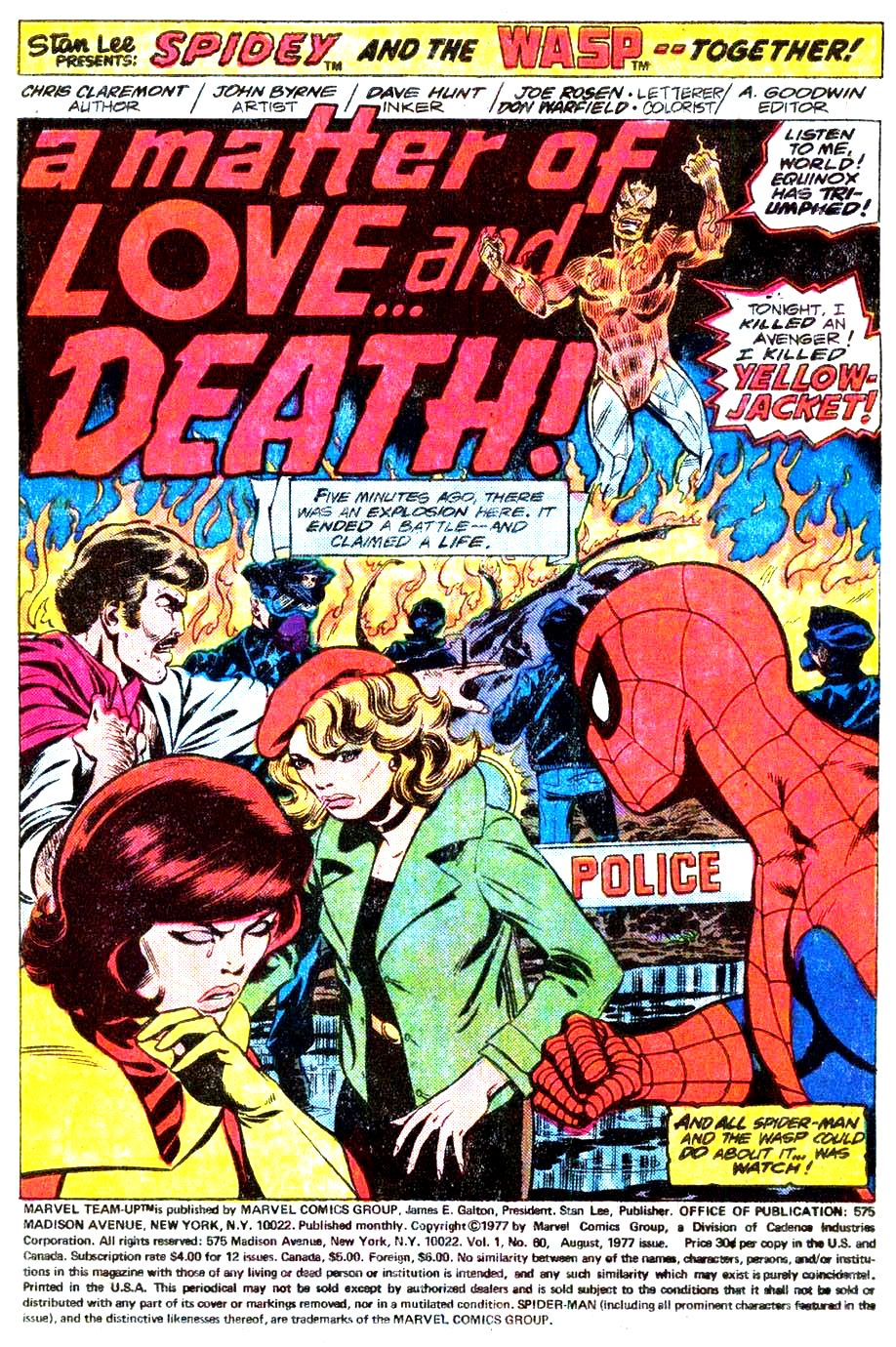 A Matter Of Love and Death - Marvel Team-Up Splash Page by John Byrne