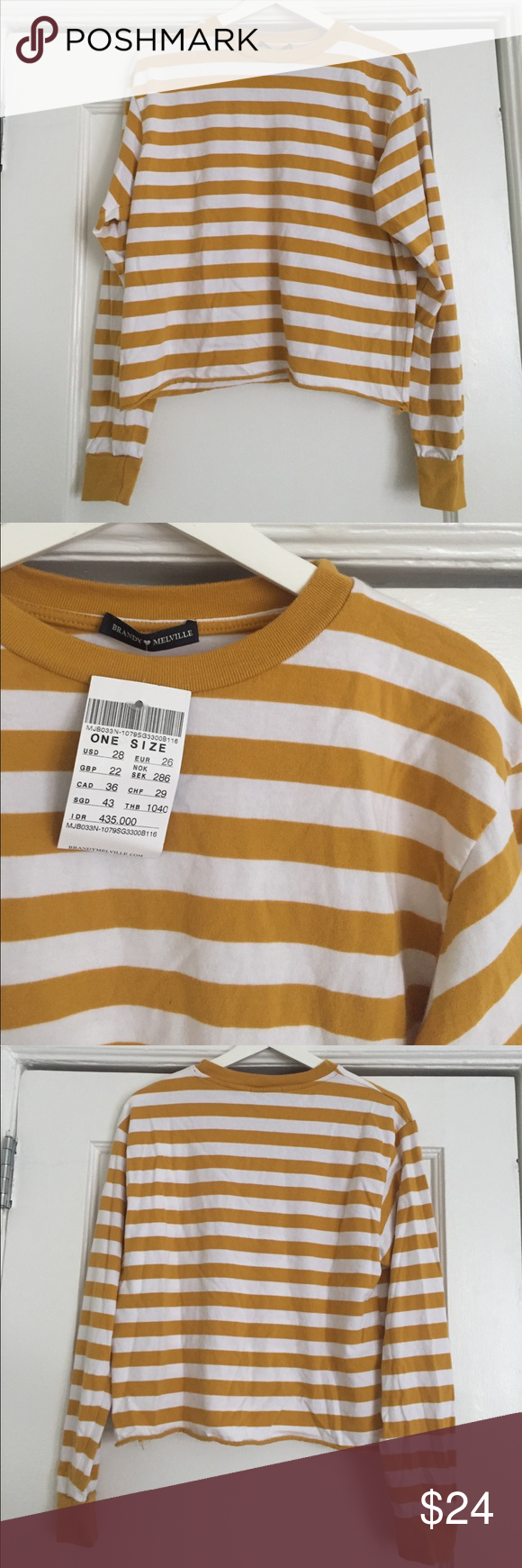 196a60ac72 Brandy Melville mustard stripe top Long sleeve mustard and white stripe top.  Mid-length