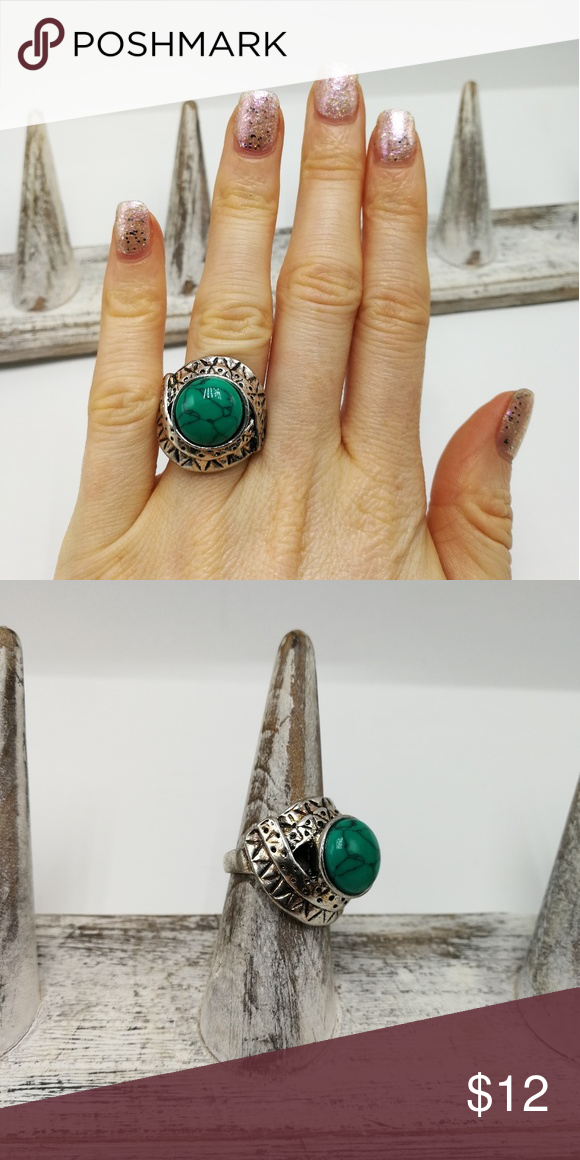 🌸🌿🌸 5 for $25 🌸🌿🌸 New with tags! Gorgeous Natural Gemstone White Buffalo Turquoise howlite Tibet Silver ring. Mixed metals. Lead and nickel free. Price is firm. No holds. Bundle to SAVE. R#2004*GREEN/BLUE TURQUOISE* Urban Outfitters Jewelry Rings
