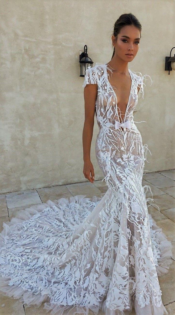 4e3e367396ad8 Gorgeous Mermaid transparent lace wedding dress with deep v-neckline    trumpet train  laceweddingdresses  mermaid  weddingdress  trumptrain
