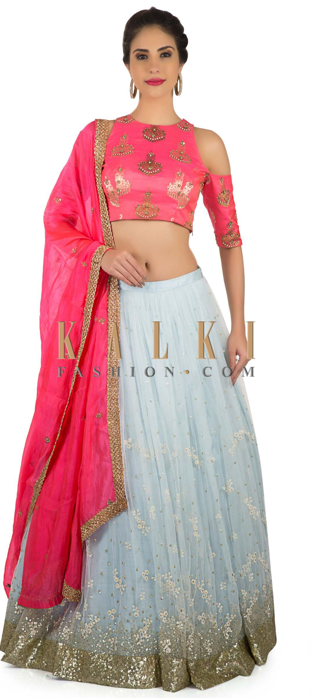 f598d23db9afc Ice blue lehenga with hot pink crop top in sequin and thread work only on  Kalki