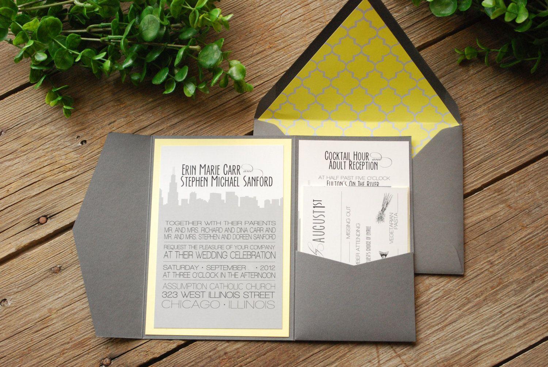 Wedding Invitation - Chicago Skyline Grey and Yellow with Pocket ...