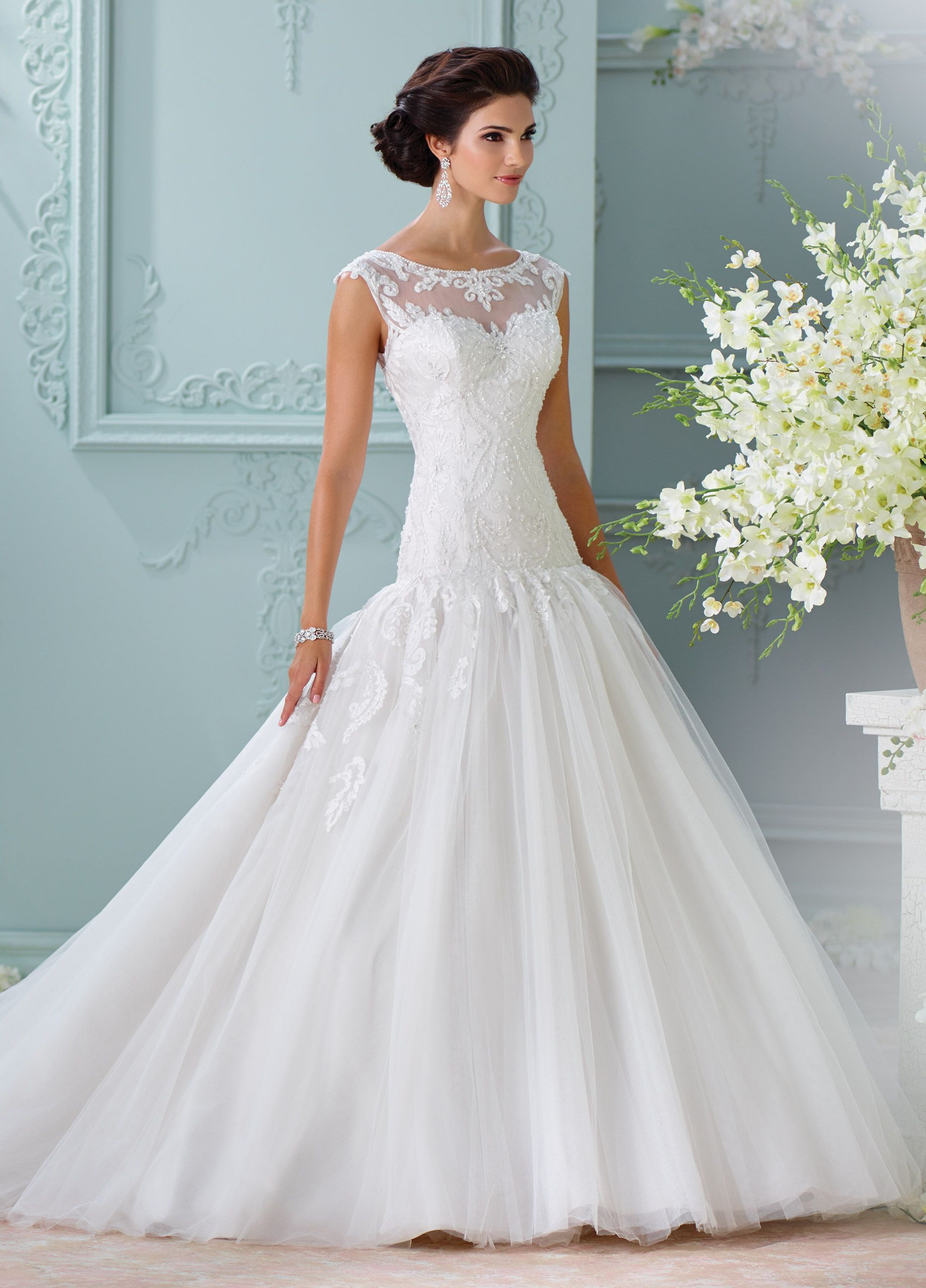 Embroidered Lace Cap Sleeve Ball Gown Wedding Dress-116226 Chiara ...